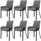vidaXL Valgomojo kėdės, 6 vnt., audinys, šviesiai pilkos