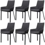 vidaXL Dining Chairs 6 pcs Dark Grey Fabric