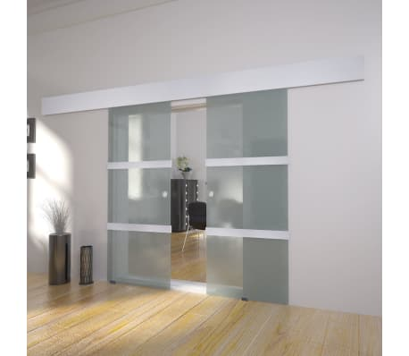 Vidaxl Double Sliding Door Glass Track System Modern Space