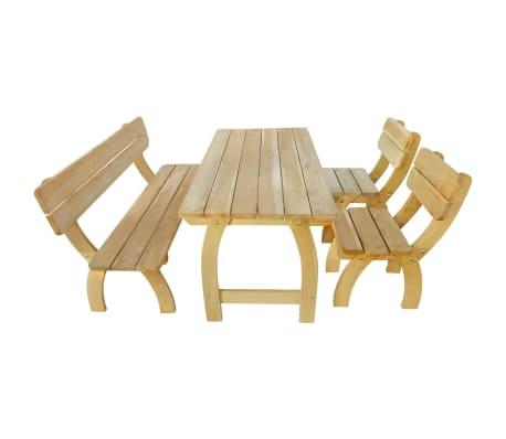 Vidaxl mesa y banco de exterior 4 piezas de madera de pino impregnada - Banco madera exterior ...