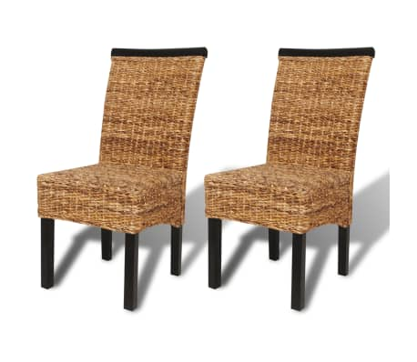 vidaXL Dining Chairs 2 pcs Abaca and Solid Mango Wood