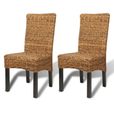vidaXL Dining Chairs 2 pcs Abaca and Solid Mango Wood[2/10]