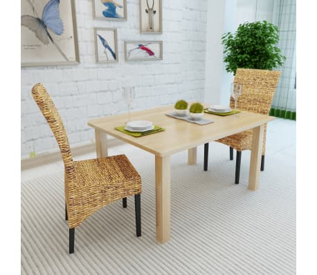 vidaXL Dining Chairs 2 pcs Abaca and Solid Mango Wood[3/10]