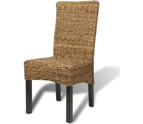 vidaXL Dining Chairs 2 pcs Abaca and Solid Mango Wood[4/10]