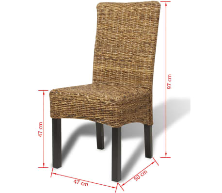 vidaXL Dining Chairs 2 pcs Abaca and Solid Mango Wood[10/10]