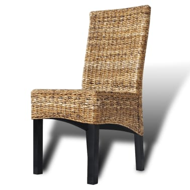 vidaXL Dining Chairs 2 pcs Abaca and Solid Mango Wood[9/10]
