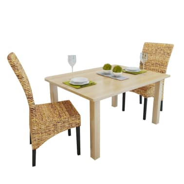 vidaXL Dining Chairs 2 pcs Abaca and Solid Mango Wood[1/10]