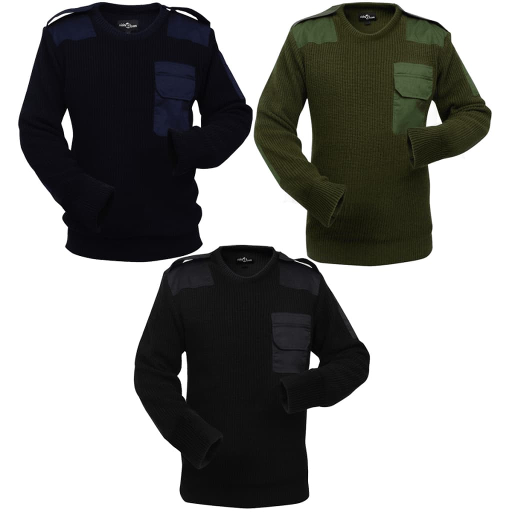 vidaXL Pulovere de lucru bărbați 3 buc. bleumarin/kaki/negru, XL imagine vidaxl.ro