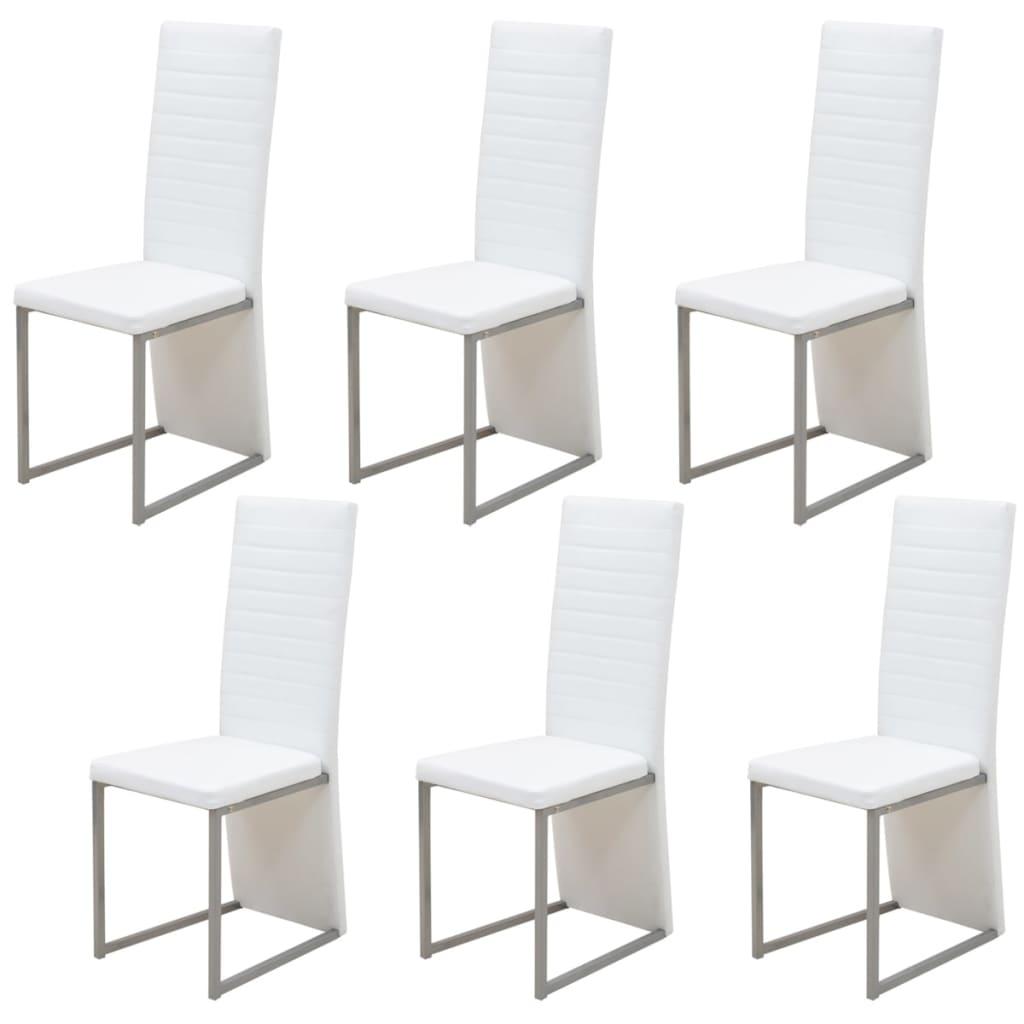 vidaXL Jídelní židle 6 ks bílé
