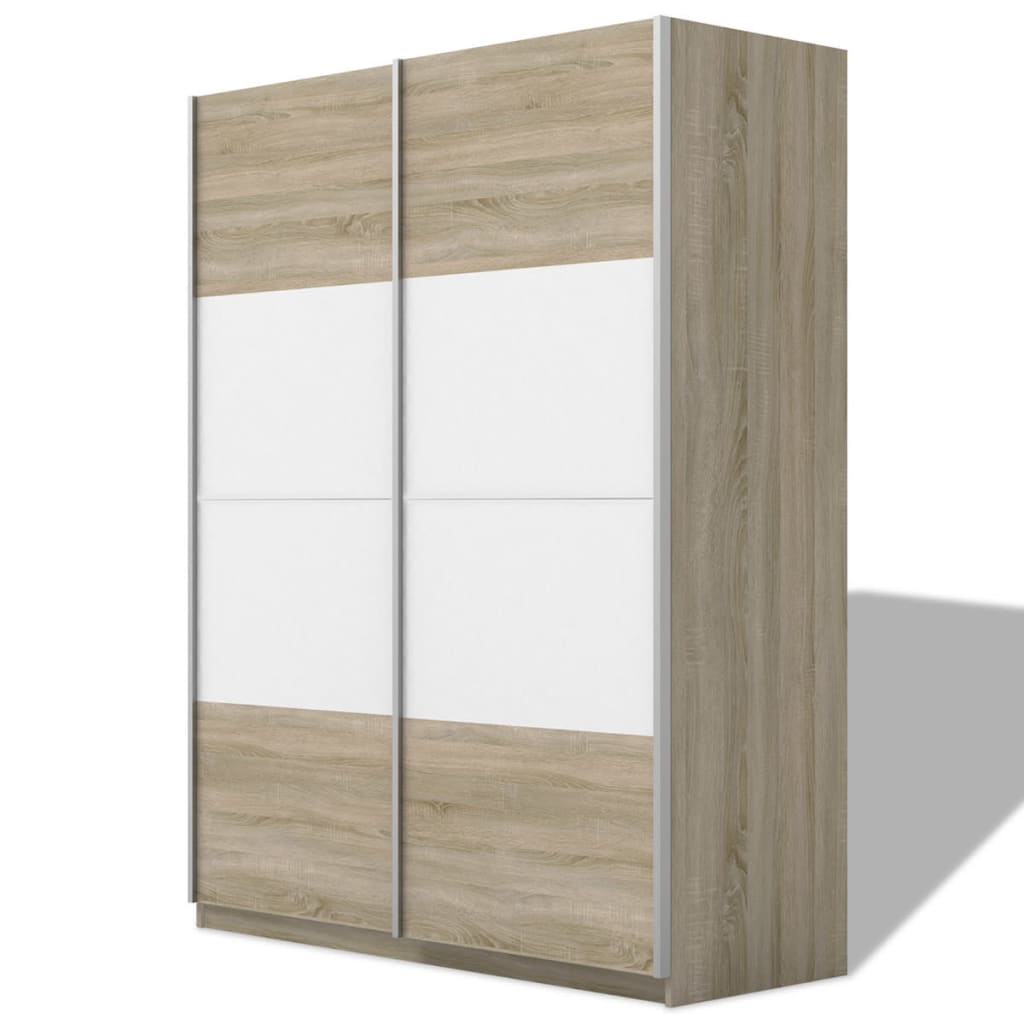 Afbeelding van vidaXL Kledingkast met 2 schuifdeuren hoogglans wit 150 cm