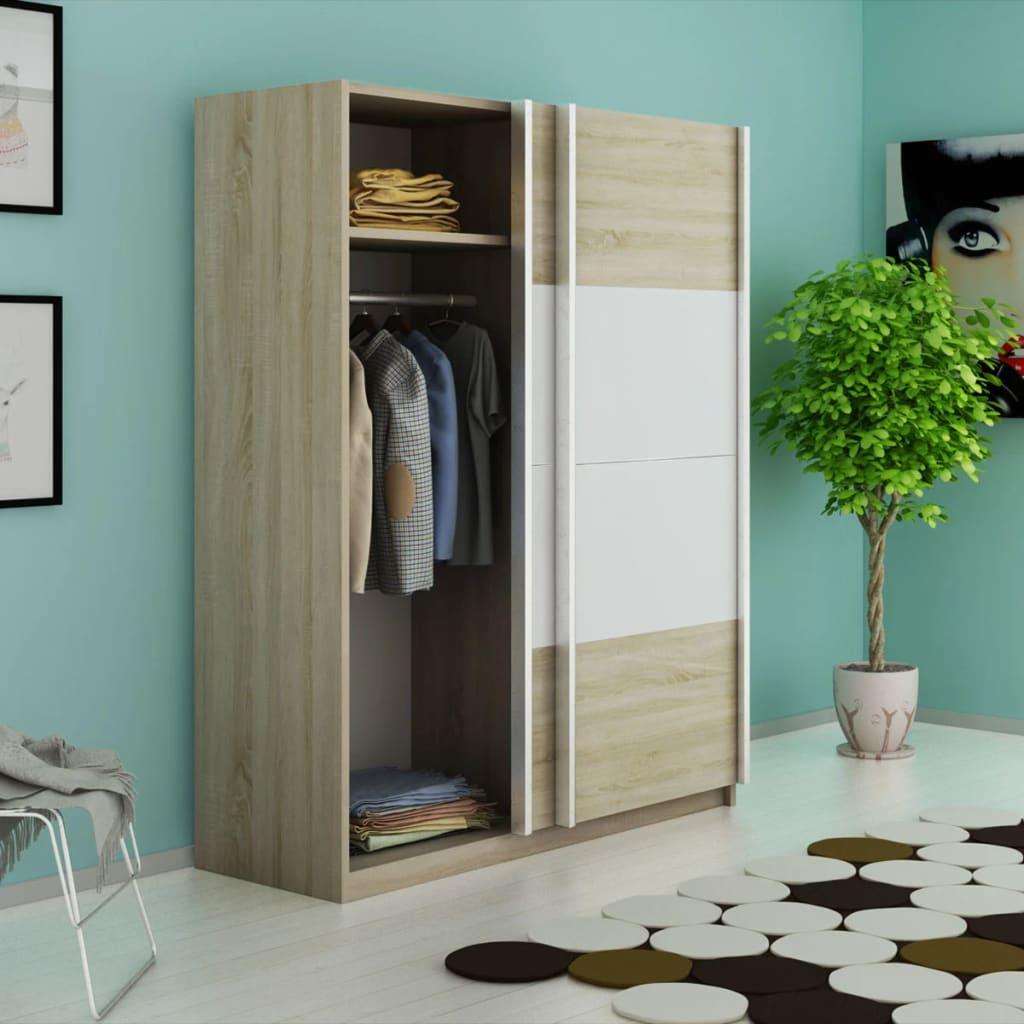 vidaXL Šatní skříň s 2 posuvnými dveřmi bílá s vysokým leskem 150 cm