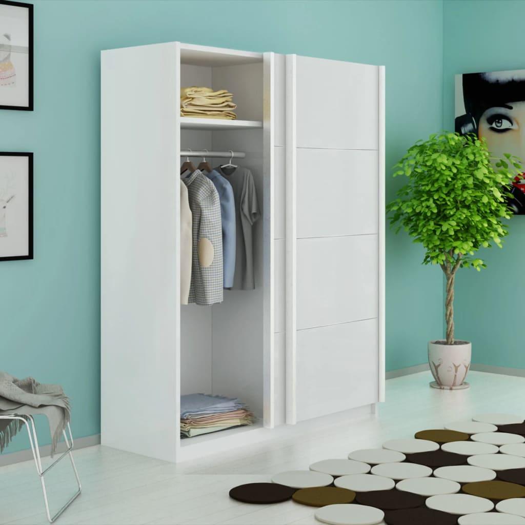 vidaXL Šatní skříň s 2 posuvnými dveřmi matná bílá 150 cm