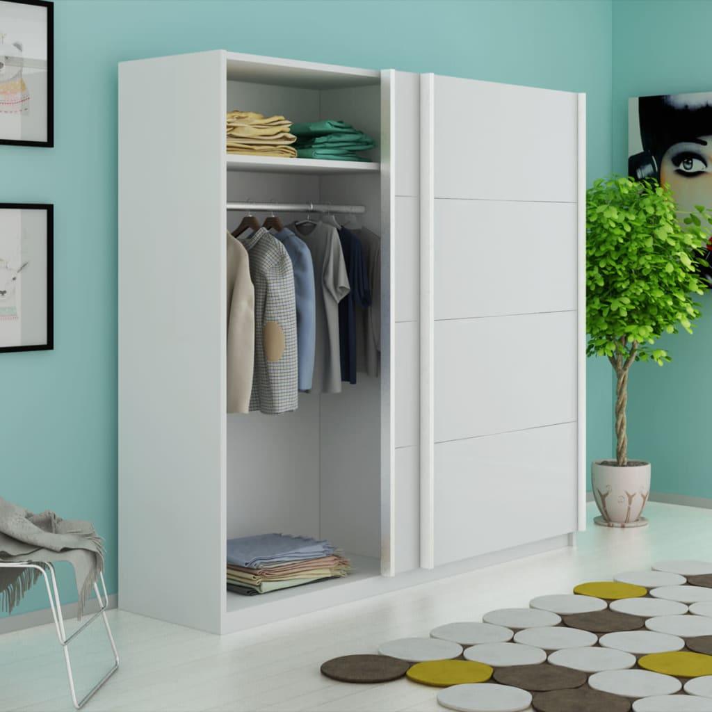 vidaXL Šatní skříň s 2 posuvnými dveřmi, matná bílá 200 cm