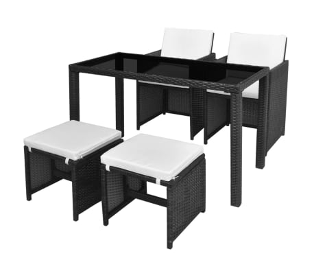 vidaXL 5 Piece Outdoor Dining Set with Cushions Poly Rattan Black[1/11]