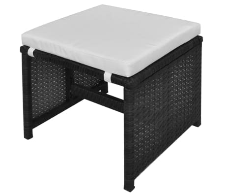 vidaXL 5 Piece Outdoor Dining Set with Cushions Poly Rattan Black[6/11]