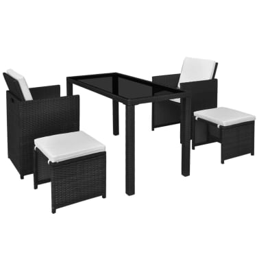 vidaXL 5 Piece Outdoor Dining Set with Cushions Poly Rattan Black[2/11]