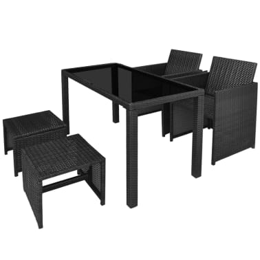 vidaXL 5 Piece Outdoor Dining Set with Cushions Poly Rattan Black[3/11]
