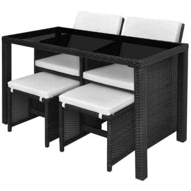 vidaXL 5 Piece Outdoor Dining Set with Cushions Poly Rattan Black[4/11]
