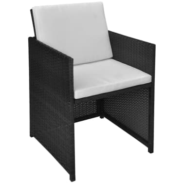 vidaXL 5 Piece Outdoor Dining Set with Cushions Poly Rattan Black[5/11]