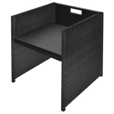 vidaXL 5 Piece Outdoor Dining Set with Cushions Poly Rattan Black[8/11]