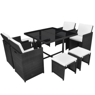 vidaXL 9 Piece Outdoor Dining Set with Cushions Poly Rattan Black[2/12]