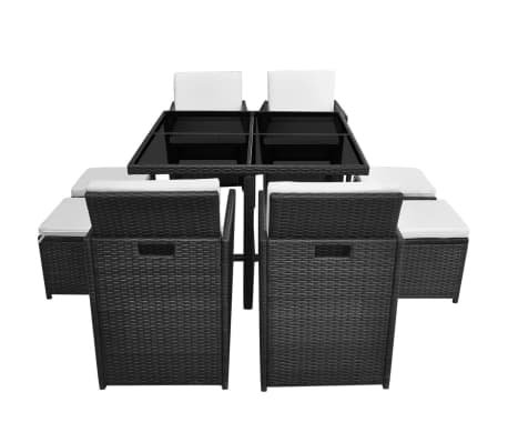 vidaXL 9 Piece Outdoor Dining Set with Cushions Poly Rattan Black[4/12]