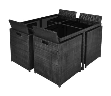 vidaXL 9 Piece Outdoor Dining Set with Cushions Poly Rattan Black[5/12]
