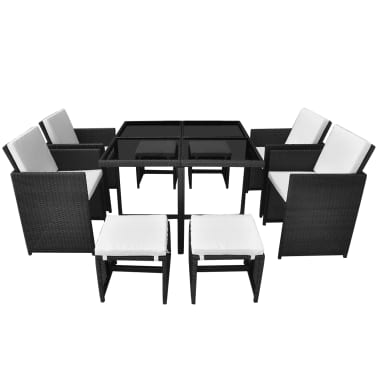 vidaXL 9 Piece Outdoor Dining Set with Cushions Poly Rattan Black[3/12]