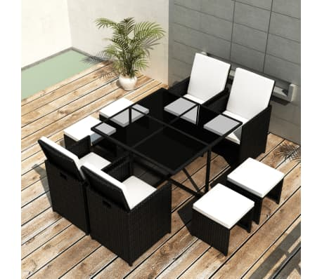 vidaXL 9 Piece Outdoor Dining Set with Cushions Poly Rattan Black[1/12]