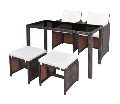 vidaXL 5 Piece Outdoor Dining Set with Cushions Poly Rattan Brown[1/11]