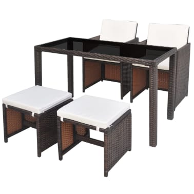 vidaXL Outdoor Dining Set 11 Pieces Poly Rattan Brown[1/11]