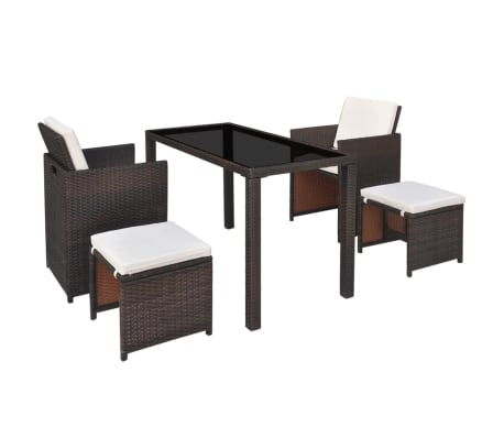 vidaXL Outdoor Dining Set 11 Pieces Poly Rattan Brown[2/11]