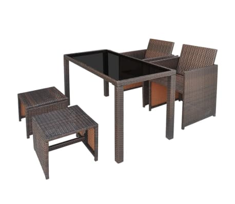 vidaXL 5 Piece Outdoor Dining Set with Cushions Poly Rattan Brown[3/11]