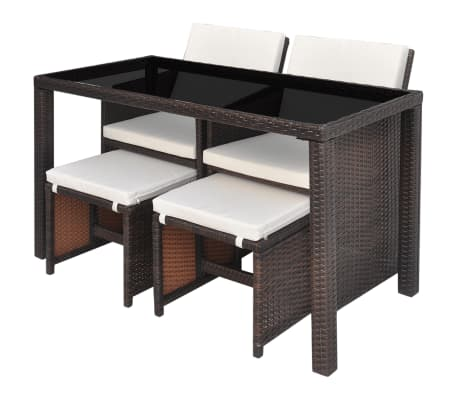 vidaXL Outdoor Dining Set 11 Pieces Poly Rattan Brown[4/11]