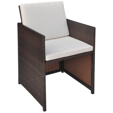 vidaXL 5 Piece Outdoor Dining Set with Cushions Poly Rattan Brown[5/11]