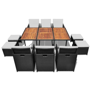 vidaXL Outdoor Dining Set 27 Pieces Poly Rattan Acacia Wood Black[2/12]