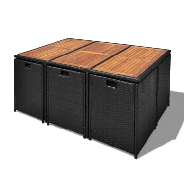 vidaXL Outdoor Dining Set 27 Pieces Poly Rattan Acacia Wood Black[4/12]