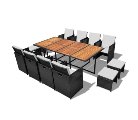 vidaXL 13 Piece Outdoor Dining Set with Cushions Poly Rattan Black[1/12]