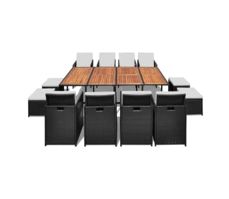 vidaXL 13 Piece Outdoor Dining Set with Cushions Poly Rattan Black[2/12]
