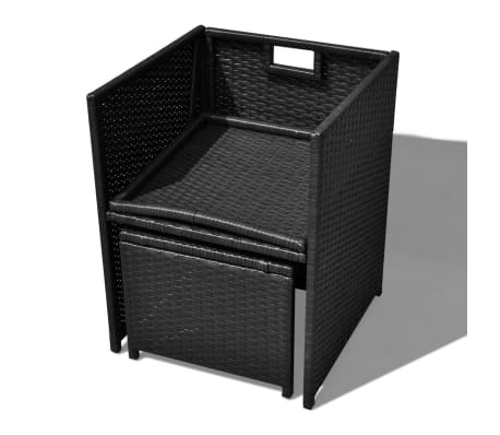 vidaXL 13 Piece Outdoor Dining Set with Cushions Poly Rattan Black[7/12]
