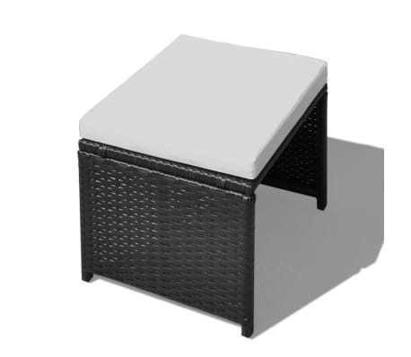 vidaXL 13 Piece Outdoor Dining Set with Cushions Poly Rattan Black[8/12]