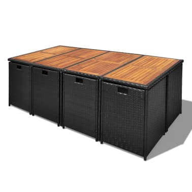 vidaXL 13 Piece Outdoor Dining Set with Cushions Poly Rattan Black[4/12]