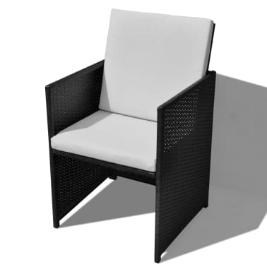 vidaXL 13 Piece Outdoor Dining Set with Cushions Poly Rattan Black[6/12]