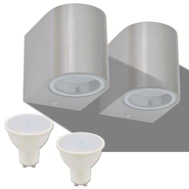 vidaXL Lauko LED sienin. šviestuvai, 2 vnt., apvalūs, šviesa į apačią[2/8]
