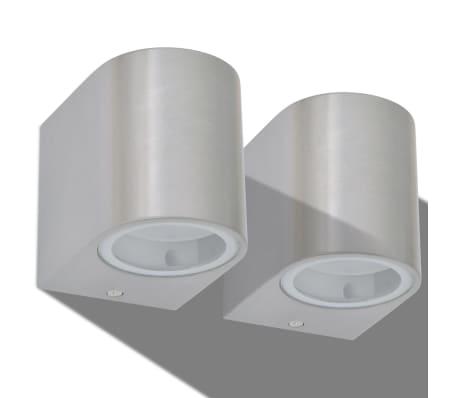 vidaXL Lauko LED sienin. šviestuvai, 2 vnt., apvalūs, šviesa į apačią[3/8]