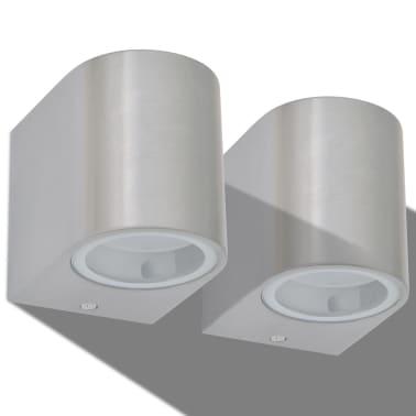 vidaXL LED-seinävalaisimet ulkotiloihin 2 kpl Pyöreä Alaspäin[3/8]