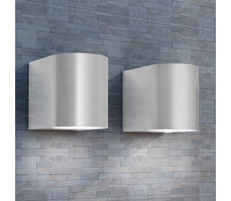 vidaXL Lauko LED sienin. šviestuvai, 2 vnt., apvalūs, šviesa į apačią[1/8]