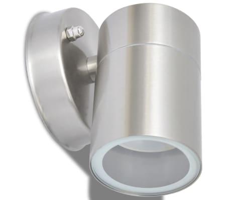 vidaXL Lauko LED sien. šviest., 2vnt., nerūd. plien., šviesa į apačią[4/7]
