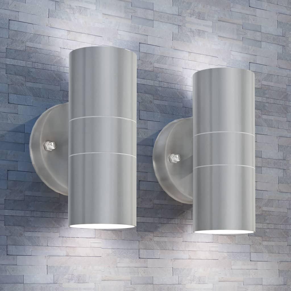 vidaXL Aplică LED perete exterior 2 buc, oțel inoxidabil, sus/jos imagine vidaxl.ro