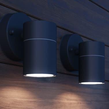 vidaXL Lauko LED sien. šviest., 2vnt., nerūd. plienas, šviesa į apačią[3/8]